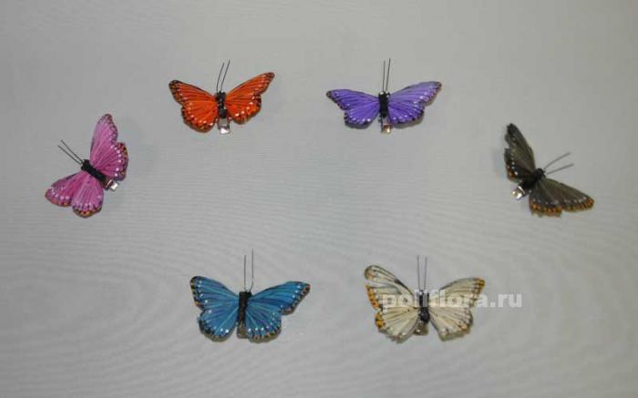 Декор-Бабочки 6,5 см (перо-клипса) 0029-6,5