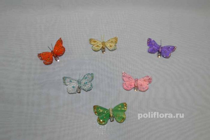 Декор-Бабочки 6 см 24 шт. уп. (перо клипса) 0113-6
