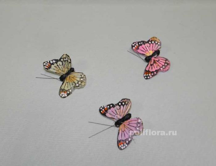 Декор-Бабочки 6 см (перо-клипса) 0142-6