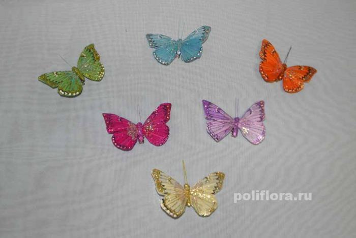 Декор-Бабочки 8,5 см 12 шт. уп. (перо клипса) 0100-8,5