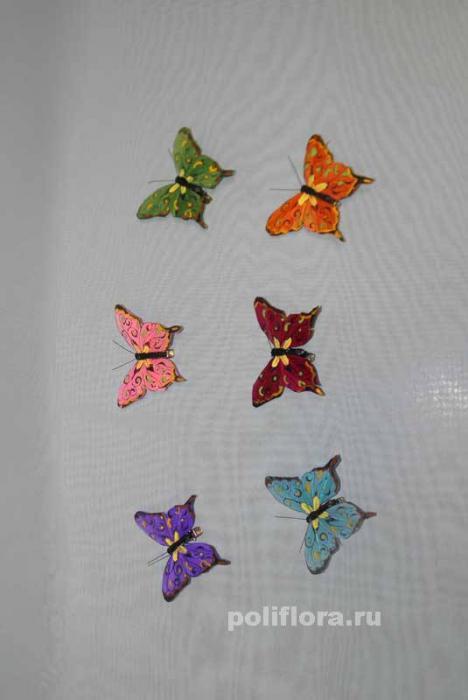 Декор-Бабочки 8 см 12 шт. уп. (перо клипса) 0178-8