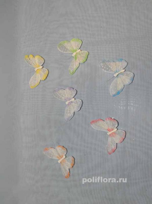 Декор-Бабочки 8 см (перо-клипса) 0084-8