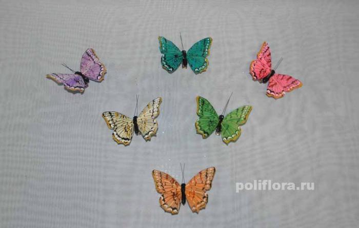 Декор-Бабочки 8 см (перо-клипса) 0200-8