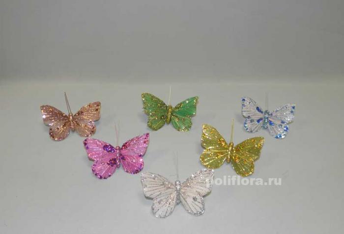 Декор-Бабочки 8 см (перо-клипса) 2401-8