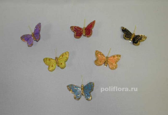Декор-Бабочки 8 см (перо-клипса) 2417-8