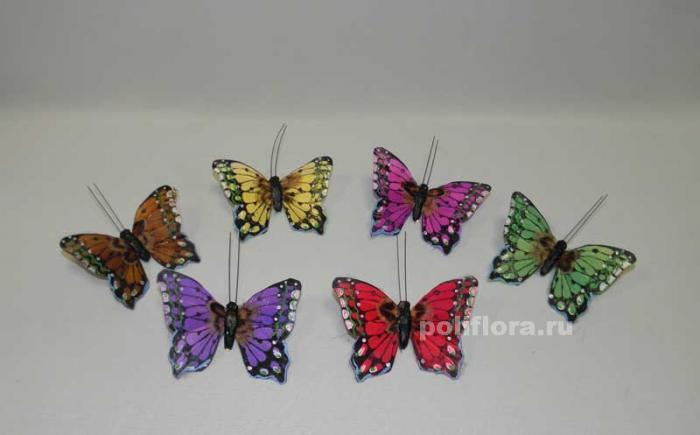 Декор-Бабочки 8 см (перо-клипса) 3027-8