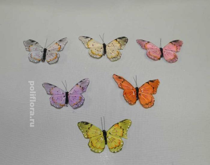 Декор-Бабочки 9.5 см (перо-клипса) 0014-9,5