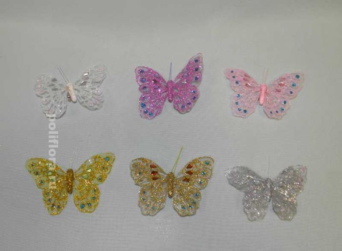 Декор-Бабочки 9,5 см (перо-клипса) 0143-9,5