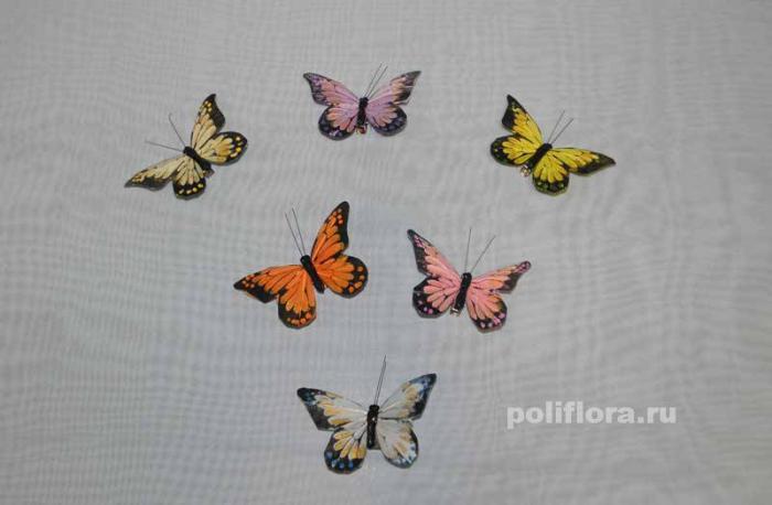 Декор-Бабочки 9 см (пероклипса) 0018-9