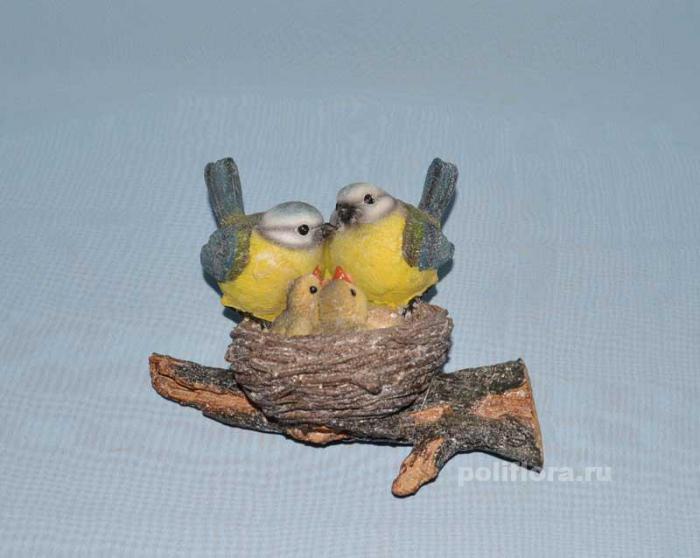 Гнездо с парой синиц     НА07376-1