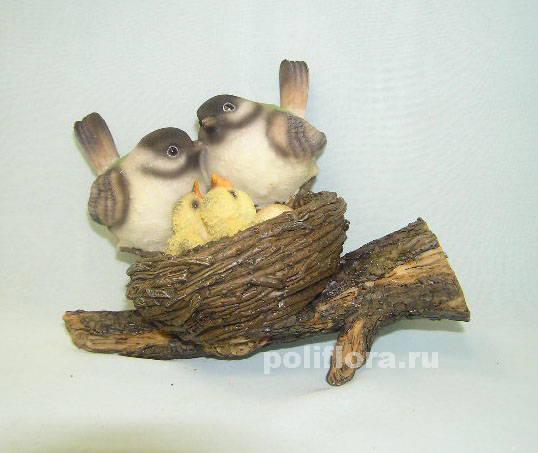 Гнездо с сер.птицами  17 см  НА07376-1