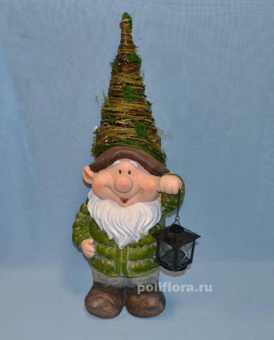 Гном в плетен.шапке с фонарем 64 см LMG140101