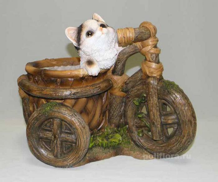 Кашпо - Велосипед с котенком 29 см