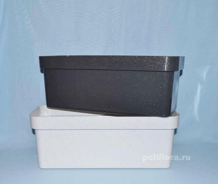 Ящик балконный ЭКО 400 б/поддона светлый гранит, темный гранит